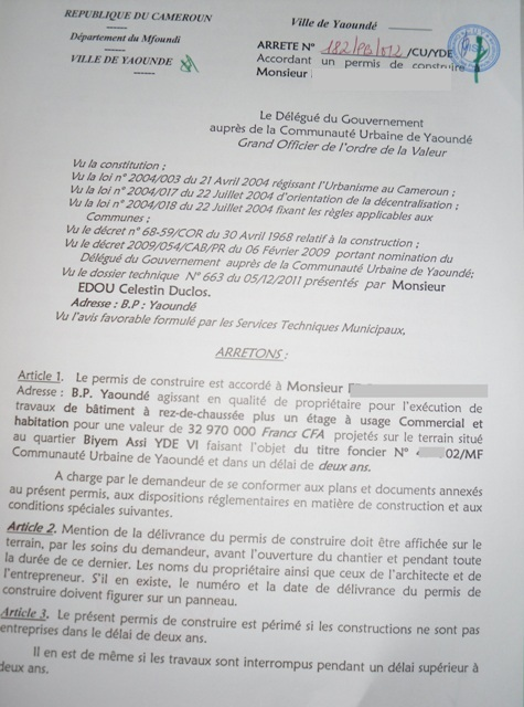Eregulations Yaounde
