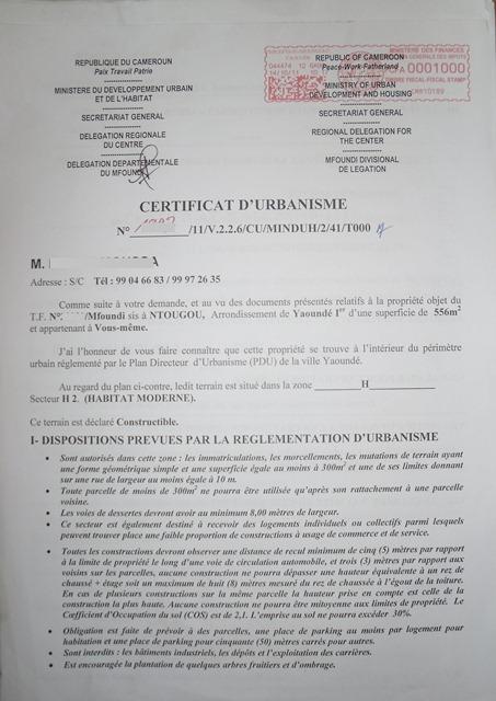 Eregulations yaound for Certificat d urbanisme positif