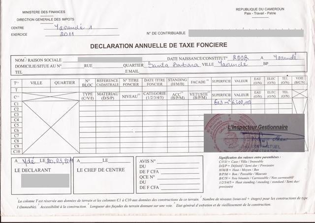 Eregulations yaound - Taxe sur la propriete principale ...